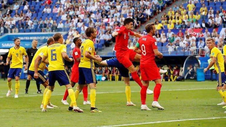 فوز إنجلترا 1/0 على السويد محصلة الشوط الأول من للقاء