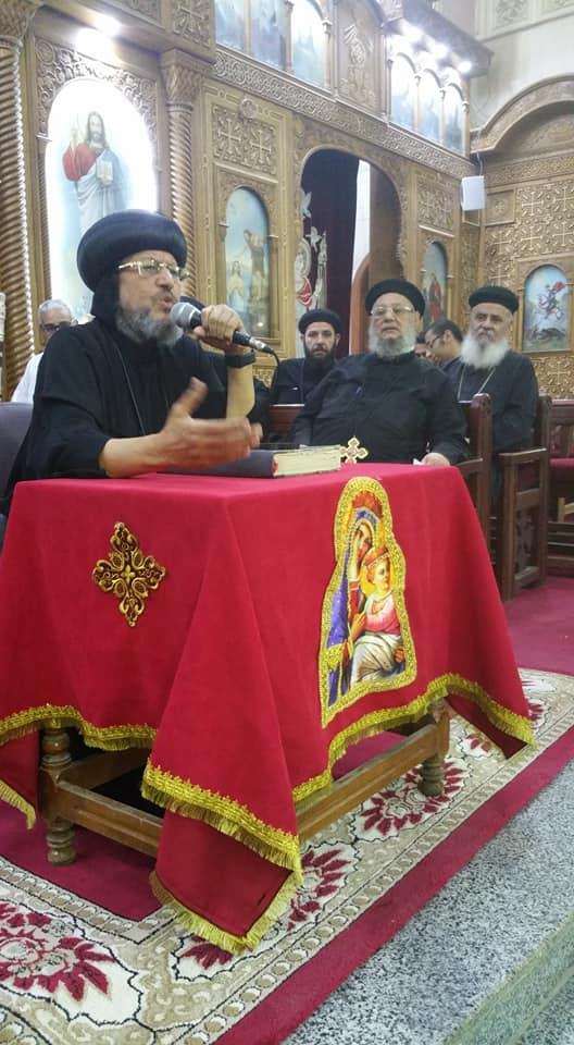 الأنبا مرقس يحتفل بصوم العذراء بكنيستيها بمسطرد والقناطر