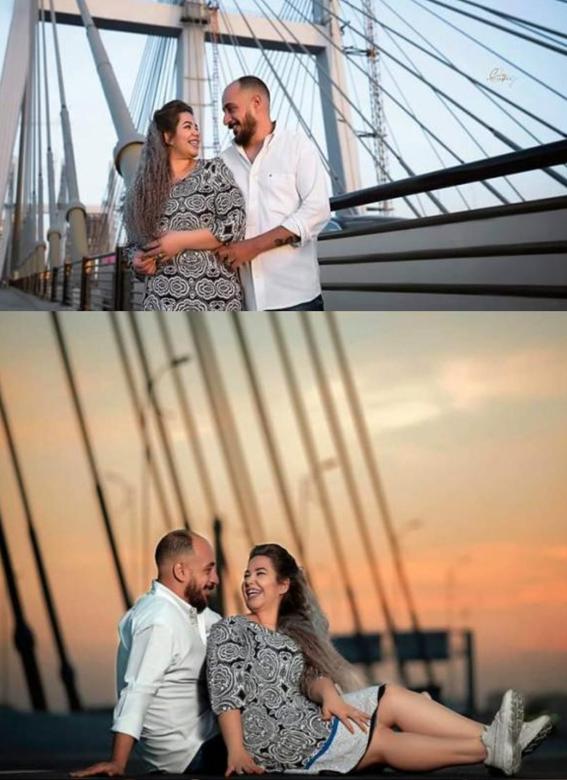 بالصور : أول فوتوسيشن لعروسين على محور روض الفرج