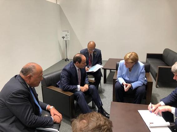 """الرئيس السيسي يلتقي المستشارة الألمانية"""" ميركل""""  باليابان"""