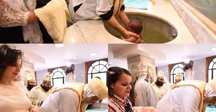 البابا تواضروس يعمد ثلاثة أطفال بكنيسة العذراء بالوجوه بشبرا