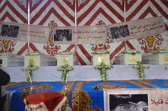 المنيا  تحتفل بوصول أجساد الآباء مطارنة كرسي المنيا والأشمونين