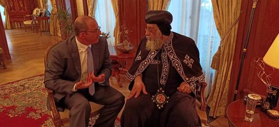 البابا تواضروس يزور السفارة المصرية ببروكسل