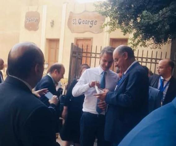 رئيس وزراء اليونان وحرمه يزورون كنيسة مارجرجس بمجمع الأديان بمصر القديمة