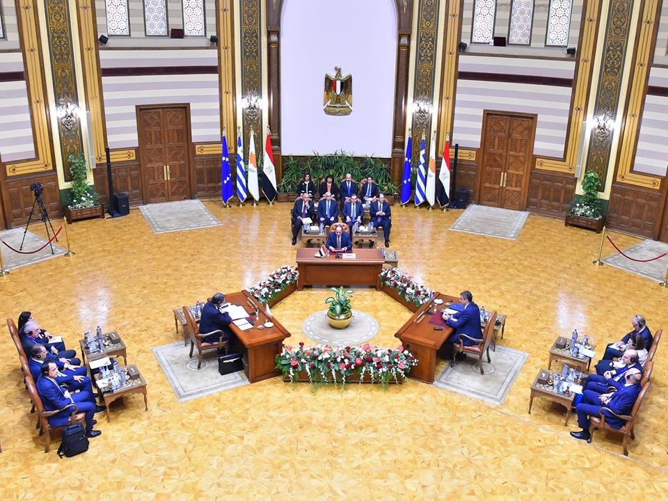 إعلاناً مشتركاً يصدر عن قمة التعاون الثلاثى بين مصر وقبرص واليونان