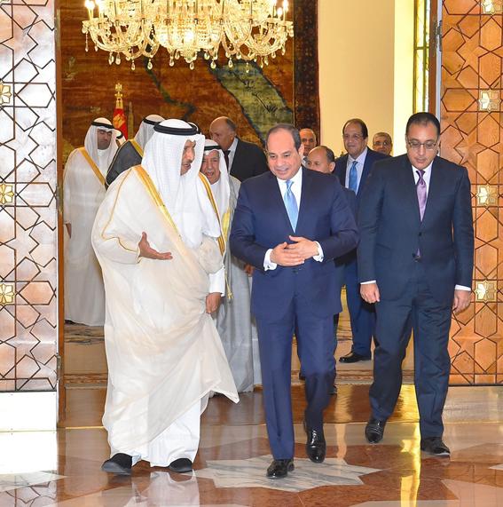 """الرئيس"""" السيسي"""" يستقبل الشيخ جابر الصباح رئيس مجلس الوزراء الكويتي"""