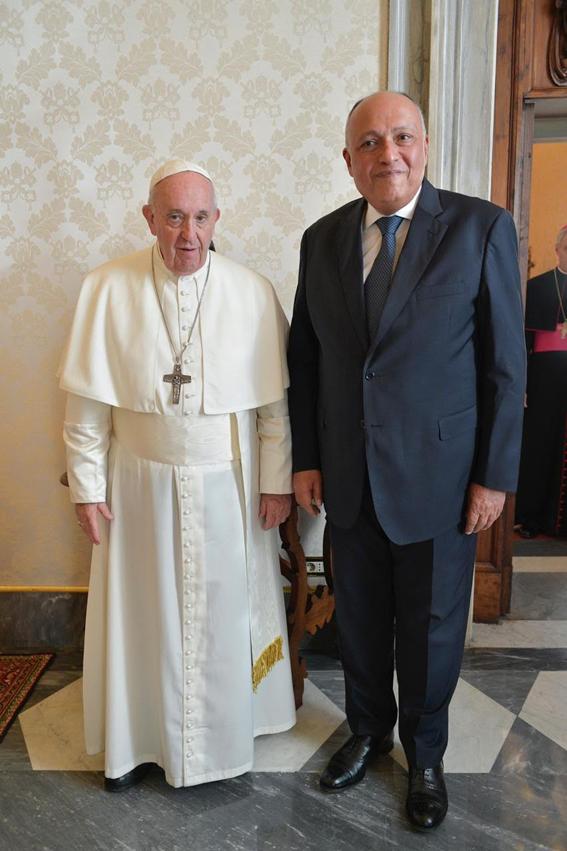 قداسة بابا الفاتيكان يستقبل وزير الخارجية سامح شكري