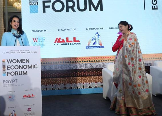 ماريان عازر تشهد افتتاح المنتدى الاقتصادي الدولي للمرأة