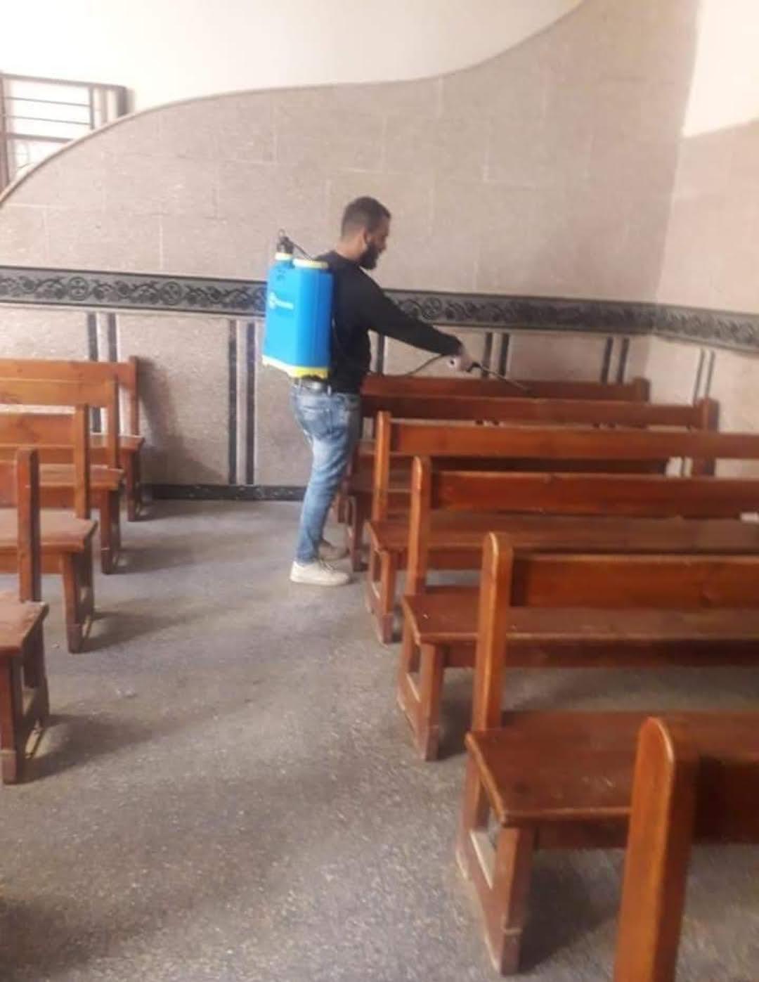 الأنبا ديمتريوس: تعقيم وتطهير مبنى الكنيسة المرقسية بمطرانية ملوي